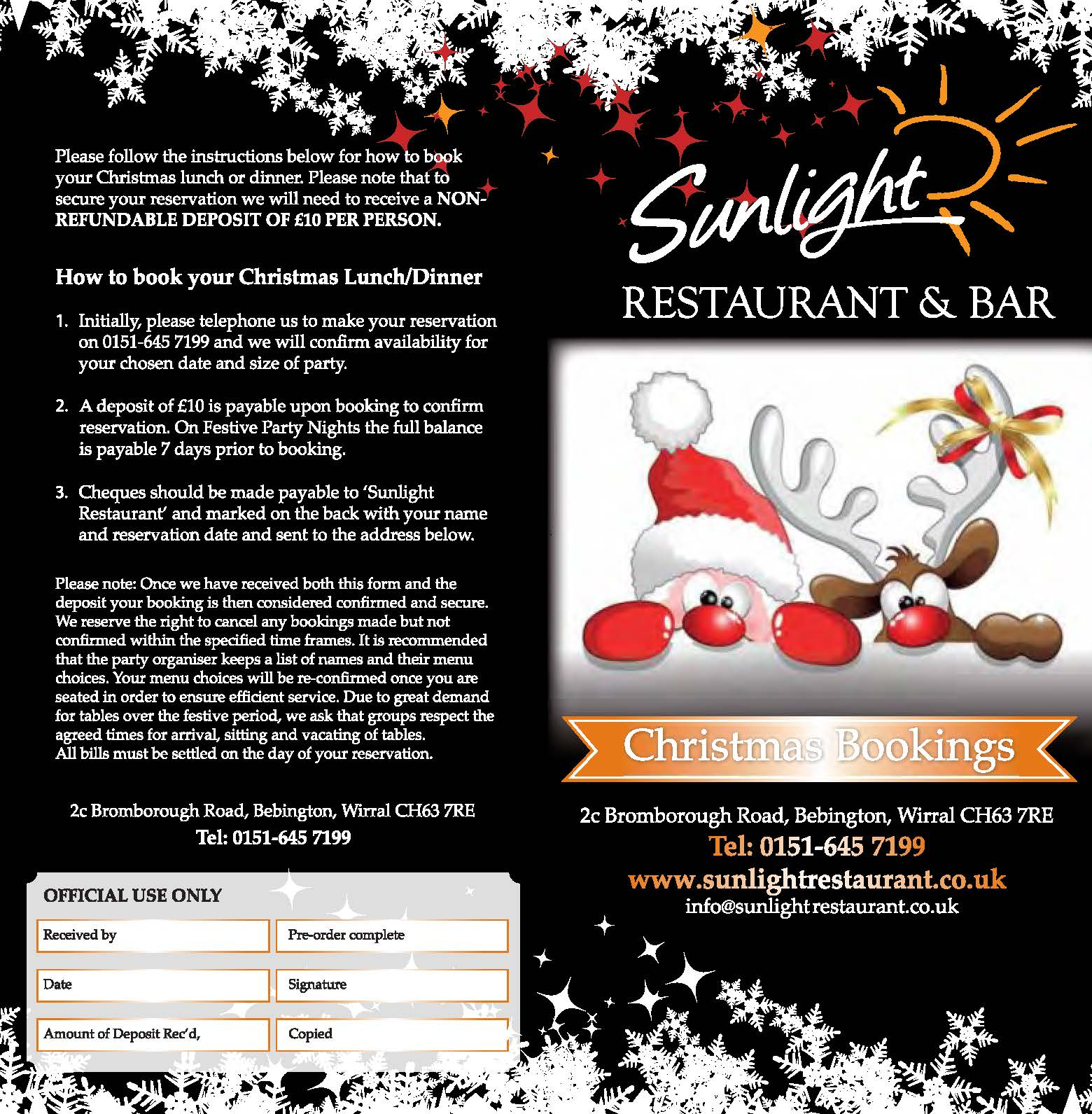 Festive Christmas menu page 1